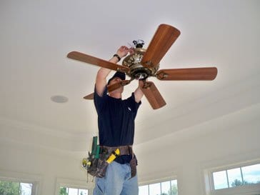 ceiling fan being installed by a Naperville Electrician