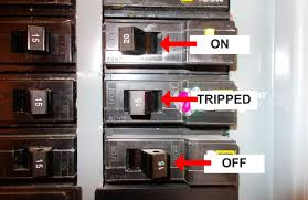 a tripped circuit breaker one is on one is off and one is tripped